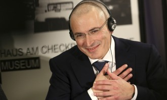 Mikhail Khodorkovsky at a press conference in Berlin, after his release by Russia.