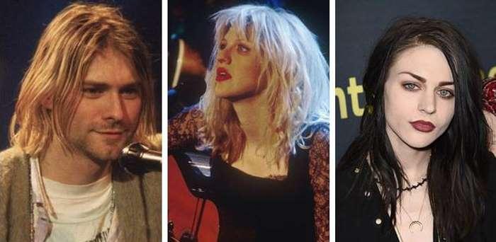 """Grupas """"Nirvana"""" mūziķis Kurts Kobeins, viņa sieva Kortnija Lova no """"Hole"""" un atvase Frensisa Bīna Kobeina"""