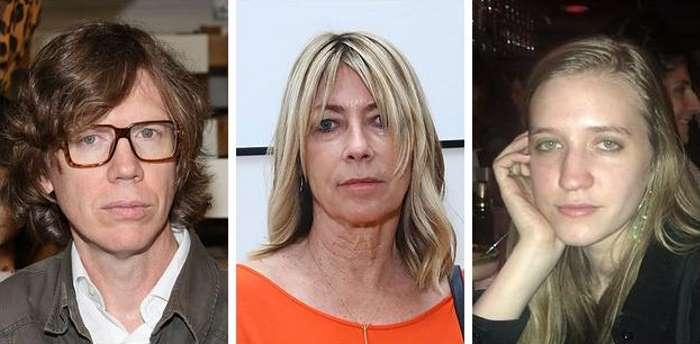 """Kādreizējais indīroka pirmais pāris: """"Sonic Youth"""" pāris Tērstons Mūrs un Kima Gordone un viņu atvase Koko Gordona Mūra"""