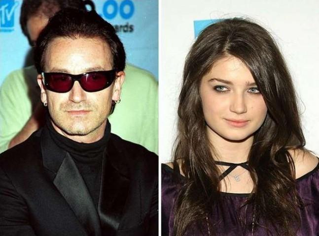 U2 mūziķis Bono un viņa meita Eva Hjūsone