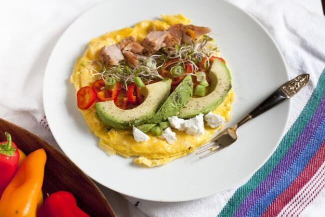 Omlete ar avokado un lasi --  Ierasto omleti lieliski var papildināt ar avokado un laša šķēlītēm. Sātīgas un proteīna bagātas brokastis.