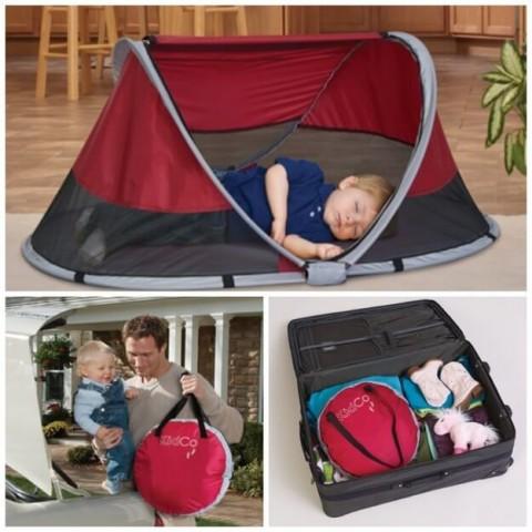 Bērnu telts čemodānā daudz vietas neaizņems