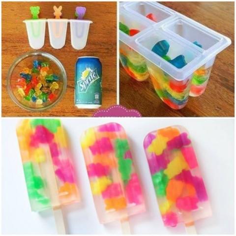 """Saldējums bērnu ballītei - """"Sprite"""" limonāde, """"gumijas"""" lācīši un ledusskapja saldētava"""