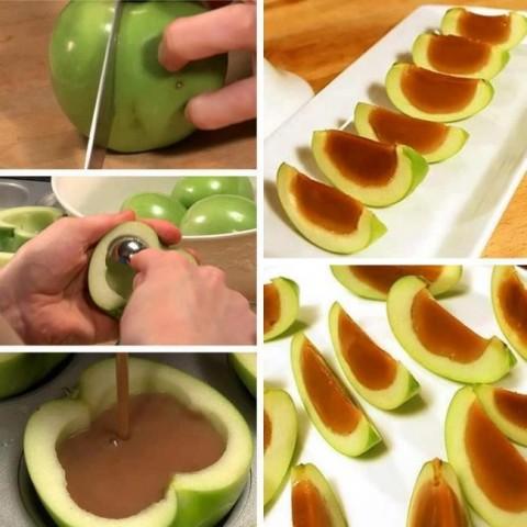 Izdobtos ābolos ielej karameli un uz stundu ievieto leduddkapī