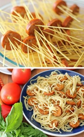 Cīsiņus ar spageti makaroniem var pagatavot arī šādi
