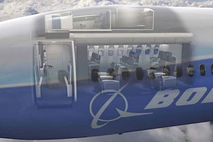 Šajā attēlā var redzēt, ka guļamtelpa atrodas lidmašīnas augšējā daļā