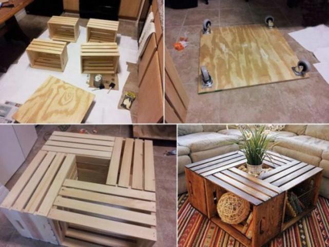Oriģināls žurnālu galdiņš no koka kastēm