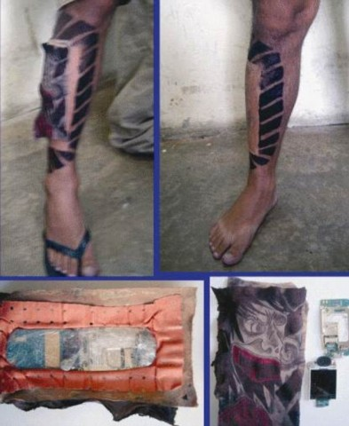 Tālrunis zem falša tetovējuma. Vienkārši ģeniāli! Izskatās, ka kāja ir uztrenēta, tikai muskulis atrodas neierastā vietā. Patiesībā zem tetovējuma ir paslēpts tālrunis. Ideja nav zemē metama — mākslīgajās krūtīs, piemēram, cietumā varētu ienest vai tonnu kokaīna.
