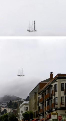 Tas nav lidojošs buru kuģis, bet gan miglā ieslīdzis televīzijas tornis