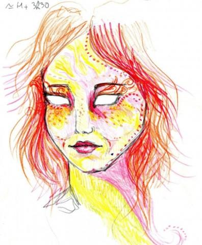 """3 stundas un 30 minūtes pēc LSD dozas ieņemšanas. """"Es neuzzīmēju acis. Vēlaties, lai es uzzīmēju? Es tās šajā zīmējumā nejūtu ..."""""""