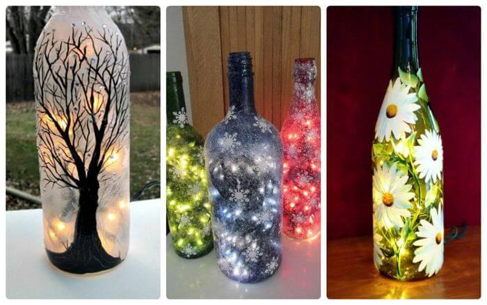 Pudeles var apgleznot, aplīmēt ar spīgulīšiem vai kā citādi izdaiļot, pirms tajās ievietot krāsainu lampiņu virteni