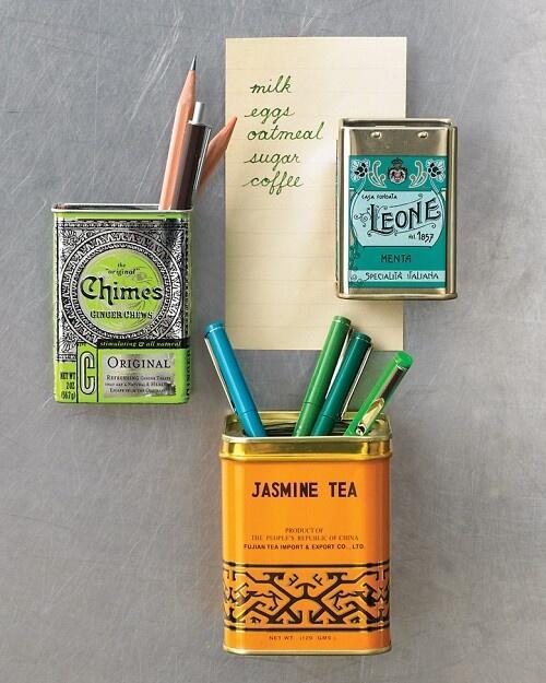 Tukšai kafijas vai tējas kārbai piemeistarots magnēts - un rakstāmrīki vairs nepazudīs