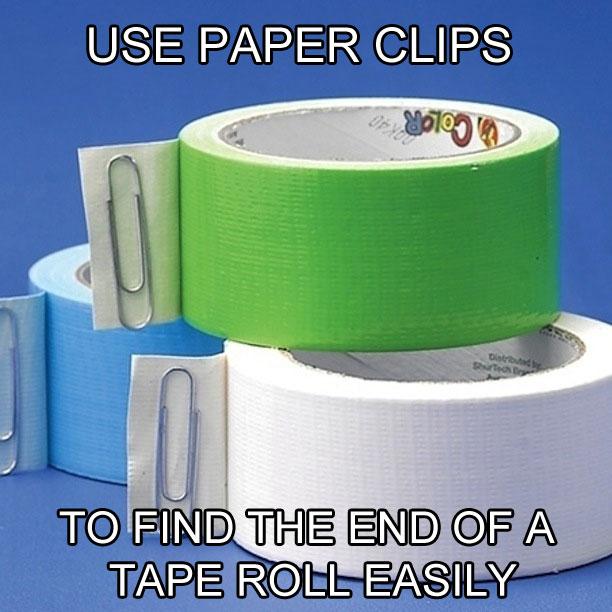 Piestipriniet līmlentas galam papīra saspraudi - tas ietaupīs nervus un atvieglos dzīvi