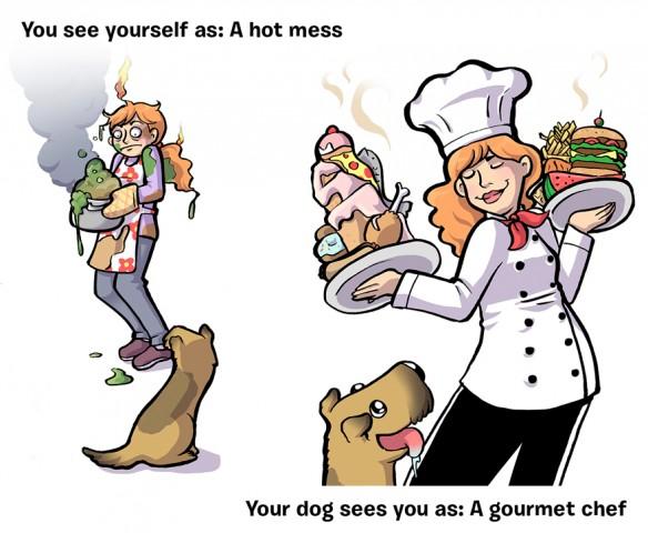 Mēs: Nekam nederīgs pavārs - Suns: Pavārmākslas dievs!
