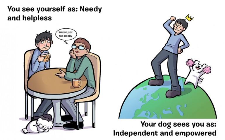 Mēs: Bezpalīdzīgs nīkulis Suns: Neatkarīgs un ietekmīgs!