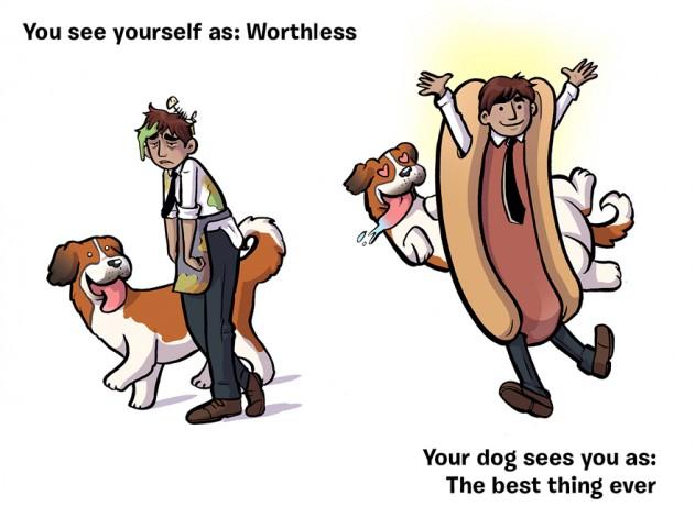 Mēs: Ne graša vērts! Suns: Labākais, kas pasaulē var būt!