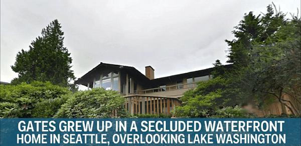 Bils Geits auga savrupmājā Sietlā, no kuras logiem pavērās lielisks skats uz Vašingtona ezeru.