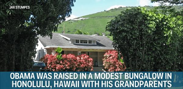 ASV prezidents Baraks Obama izauga mūsdienīgā namā ar verandu Honolulu, Havaju salās, kopā ar vectētiņu un vecmāmiņu.