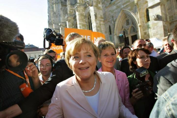 Angela Merkele priekšvēlēšanu kampaņas laikā Regensburgā Vācijā, 2005.gadā