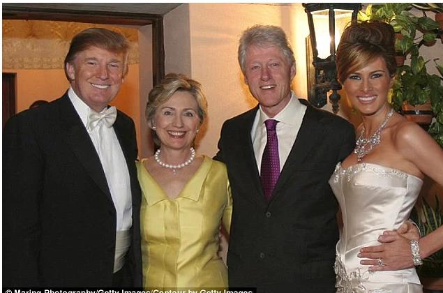 8. Kāzu viesu vidū bija arī Bils un Hilarija Klintoni.