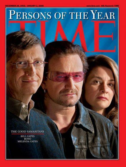 2005.gads - labie samārieši: Bils Geits, Bono un Melinda Geitsa