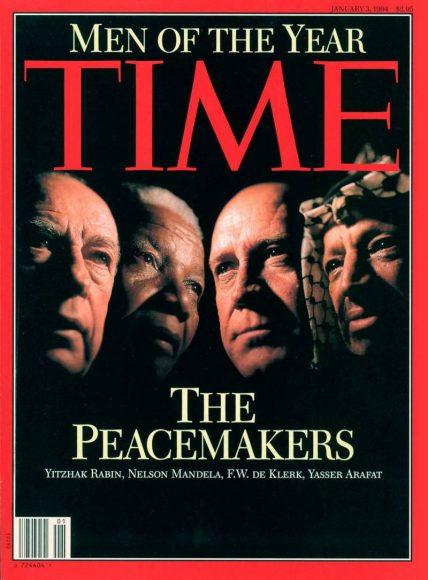 """1993.gads - """"Miera uzturētāji"""" Jāsirs Arafāts, Frederiks de Klerks, Nelsons Mandela un Ichaks Rabins"""