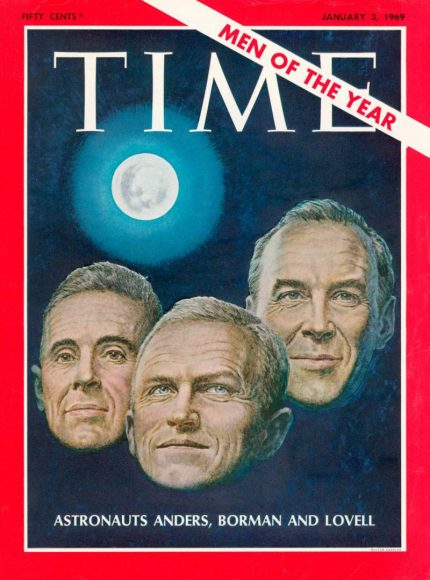 1968.gads - Apollo 8 astronauti: Frenks Bormans, Džeimss Lovels un Viljams Anderss