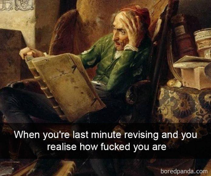 Kad pēdējā brīdī mācies eksāmenam, bet saproti - tev ir vāks